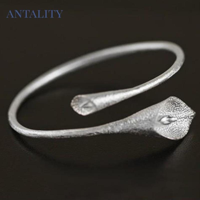 Ethnic Lotus Calla Bangle Bracelet - Antality Handcrafted Handmade Unique Sterling Silver Art Jewelry