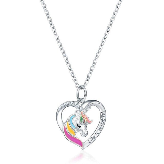 Unicorn Necklace Life Is Beautiful Silver Heart - Unicorn in Wonderland
