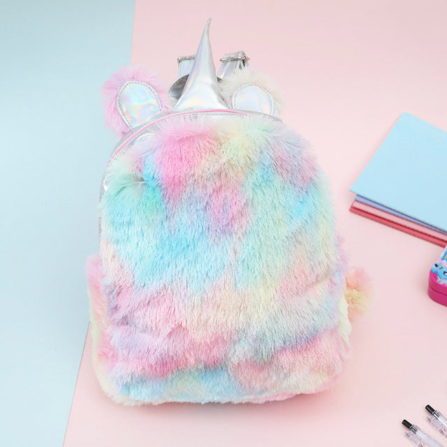 Unicorn Backpack Horn Top Fluffy Multicolor - Unicorn in Wonderland