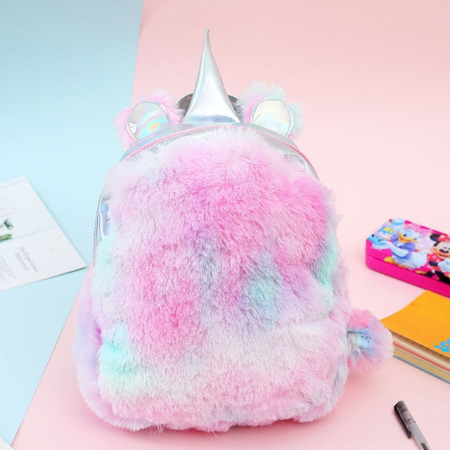 Unicorn Backpack Horn Top Fluffy Pink - Unicorn in Wonderland