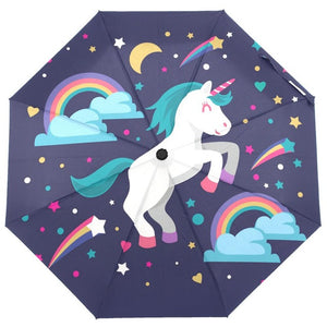 Unicorn Umbrella Happy Black - Unicorn in Wonderland