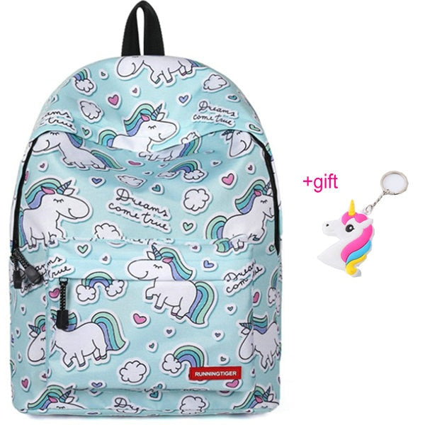 Unicorn Backpack Heads Blue - Unicorn in Wonderland