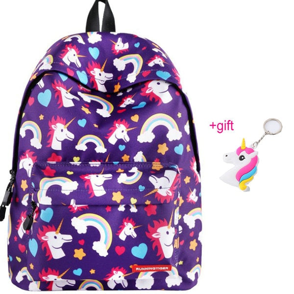 Unicorn Backpack Heads Purple - Unicorn in Wonderland