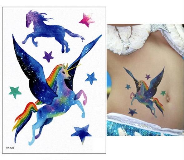 Unicorn Fake Tattoo Beautiful Flying - Unicorn in Wonderland