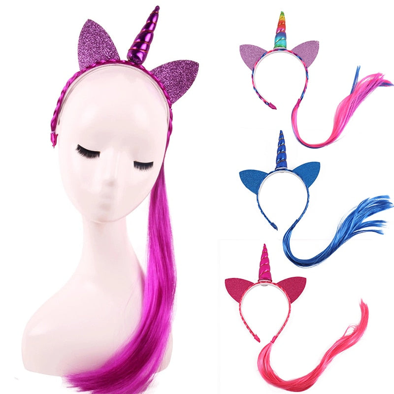 Unicorn Headband Blue With Roses - Unicorn in Wonderland