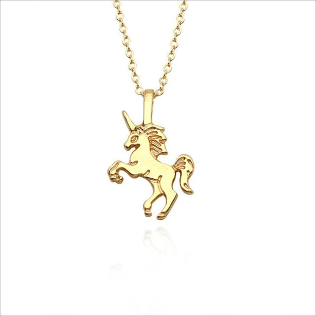 Unicorn Necklace Showing Gold Colored - Unicorn in Wonderland