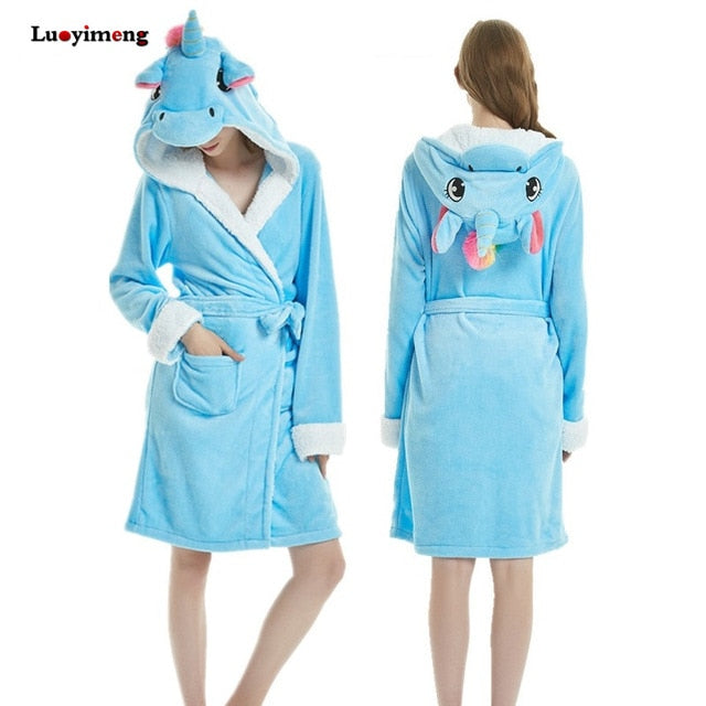Unicorn Bathrobe Blue Adult