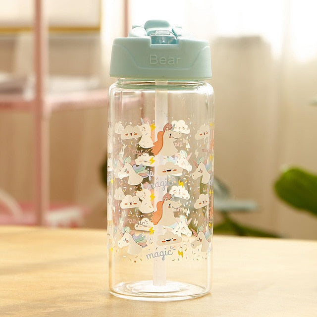 Unicorn Bottle Green Transparent 400ml - Unicorn in Wonderland