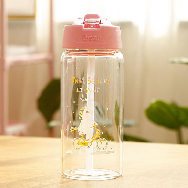 Unicorn Bottle Pink Transparent 400ml - Unicorn in Wonderland