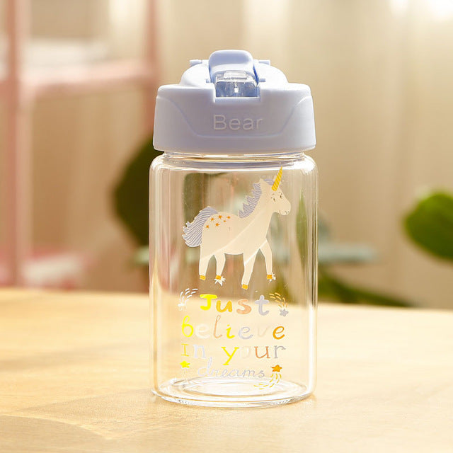 Unicorn Bottle Blue Transparent 300ml - Unicorn in Wonderland