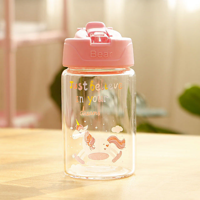 Unicorn Bottle Pink Transparent 300ml - Unicorn in Wonderland