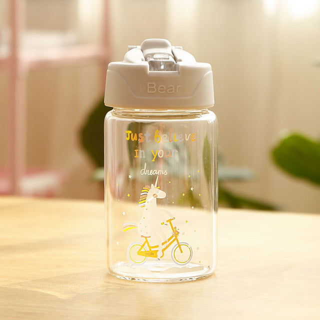 Unicorn Bottle Gray Transparent 300ml - Unicorn in Wonderland