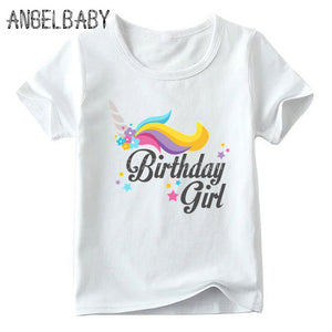 Unicorn Tee Shirt Black Birthday Girl White - Unicorn in Wonderland