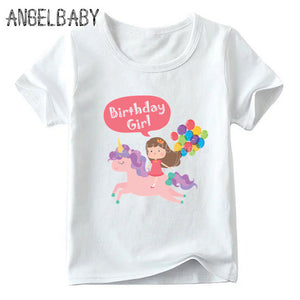 Unicorn Tee Shirt Purple Blue Birthday Girl White - Unicorn in Wonderland