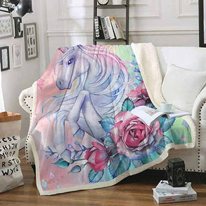Unicorn Blanket Running Pink 150x120cm - Unicorn in Wonderland
