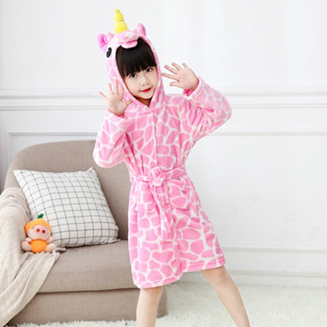 Unicorn Bathrobe Pink 2 Kid
