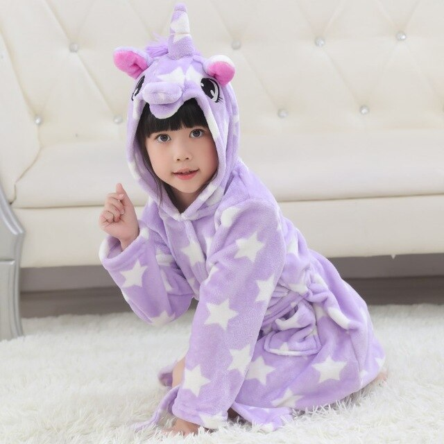 Unicorn Bathrobe Purple Stars Kid