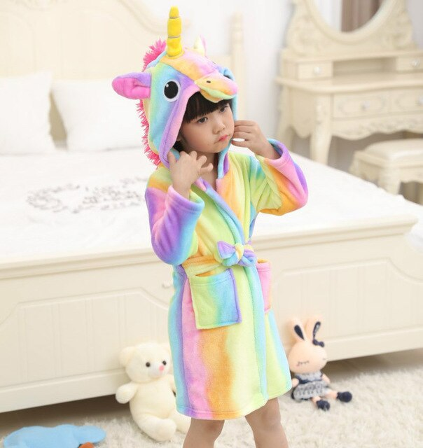 Unicorn Bathrobe Rainbow Kid