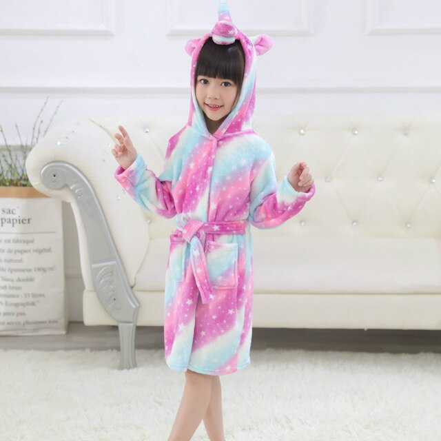 Unicorn Bathrobe Rose Stars Kid