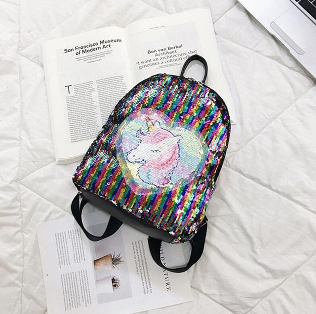 Unicorn Head Spangle Multicolor Backpack - Unicorn in Wonderland