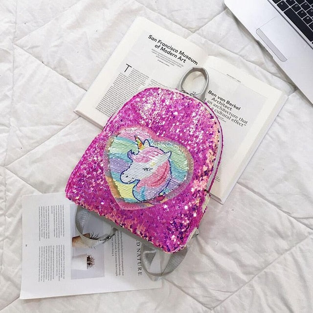 Unicorn Backpack Head Spangle Pink - Unicorn in Wonderland