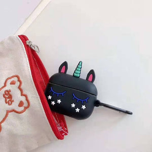 Unicorn Airpod Case Sleep Cute Black - Unicorn in Wonderland