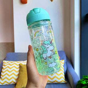 Unicorn Bottle Green Transparent 500ml - Unicorn in Wonderland