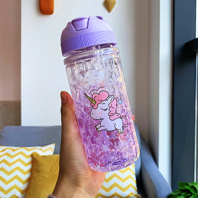 Unicorn Bottle Purple Transparent 500ml - Unicorn in Wonderland