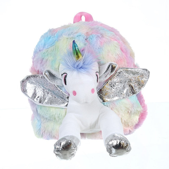 Unicorn Backpack Plush Silver - Unicorn in Wonderland