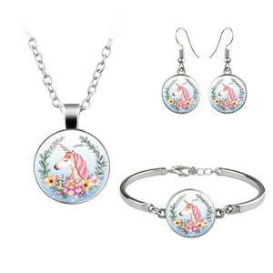 Unicorn Jewelry Set Pride Flowers Blue Right - Unicorn in Wonderland