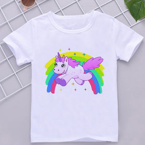 Unicorn Tee Shirt Rainbow White - Unicorn in Wonderland