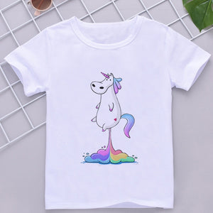 Unicorn Tee Shirt Fart White - Unicorn in Wonderland