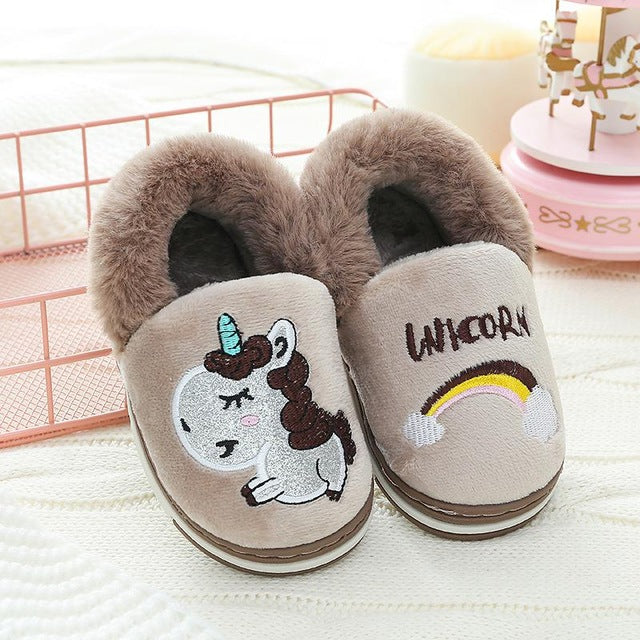 Unicorn Slipper Brown Rainbow - Unicorn in Wonderland