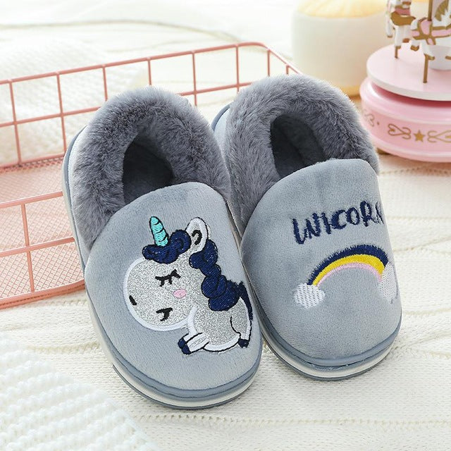 Unicorn Slipper Gray Rainbow - Unicorn in Wonderland
