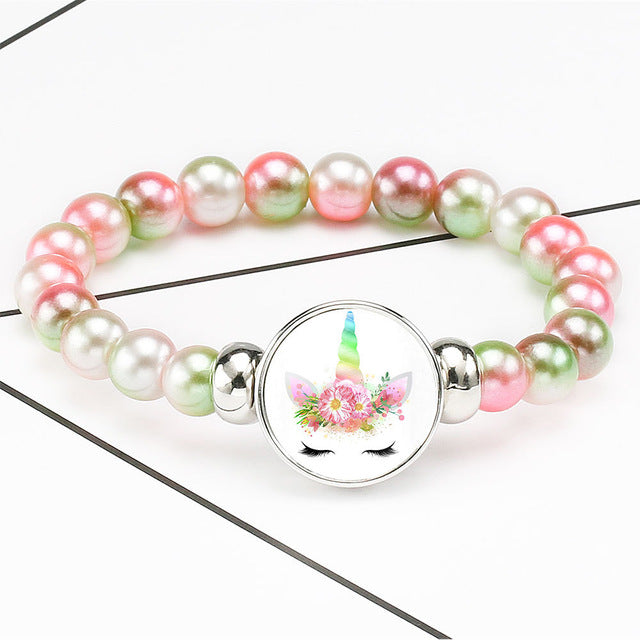 Unicorn Bracelet Cute Pink Flower - Unicorn in Wonderland