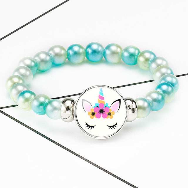 Unicorn Bracelet Cute Flowers - Unicorn in Wonderland