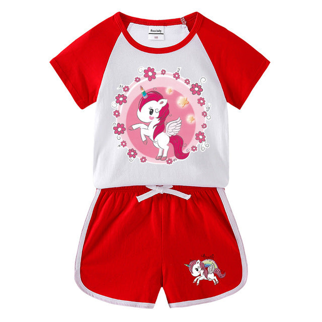 Unicorn Jumping Red Track Suit - Unicorn in Wonderland