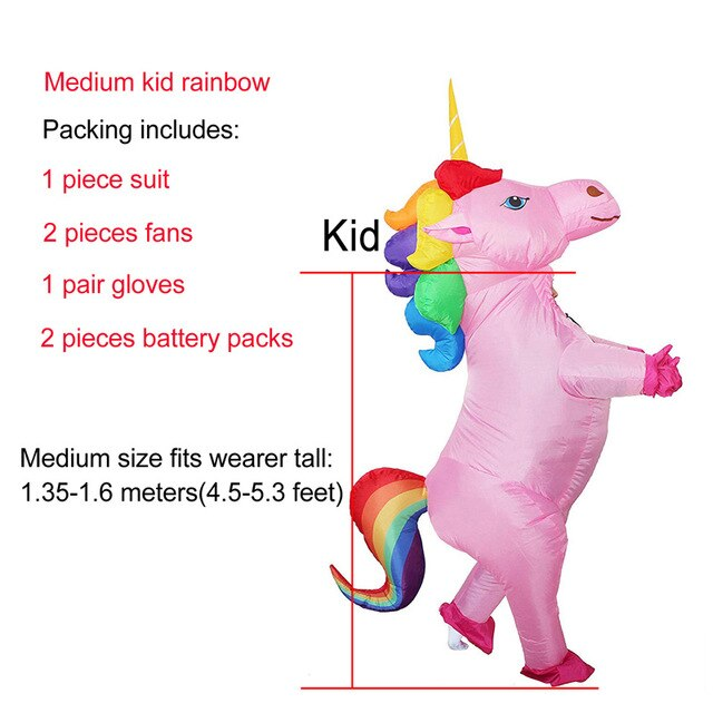 Unicorn Costume Multicolor Hair Medium Child - Unicorn in Wonderland