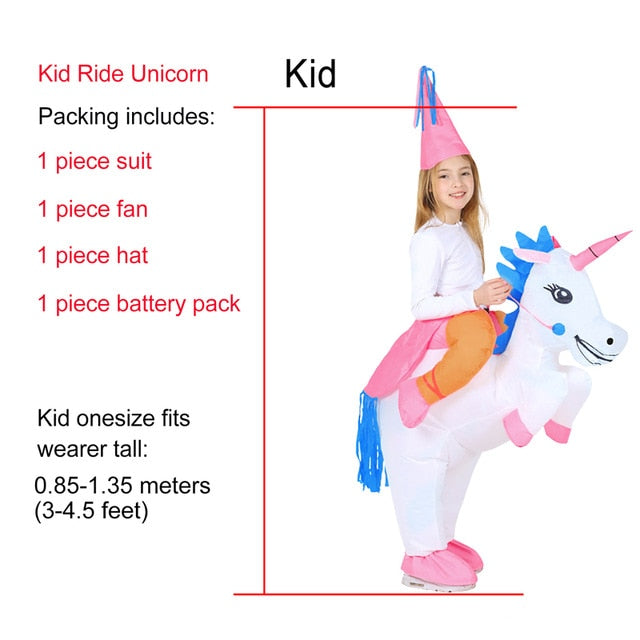Unicorn Costume Riding White Child - Unicorn in Wonderland