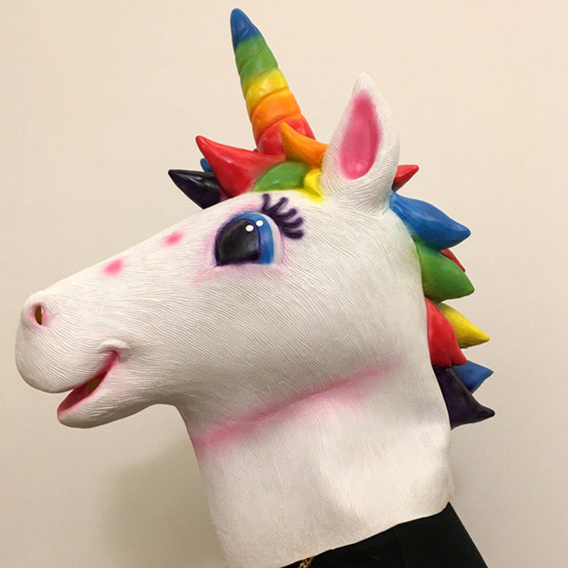 Unicorn Mask Multicolor Hair - Unicorn in Wonderland