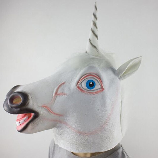 Unicorn Mask White Hair Laugthing - Unicorn in Wonderland