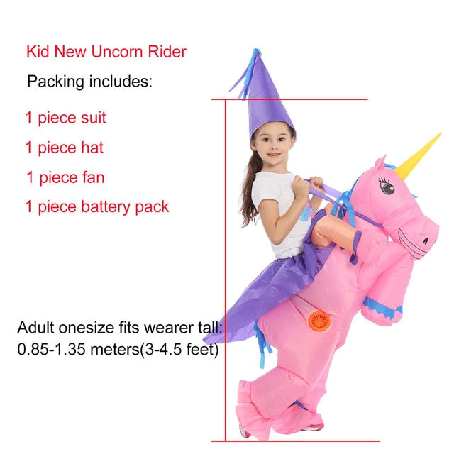 Unicorn Costume Riding Pink Child - Unicorn in Wonderland