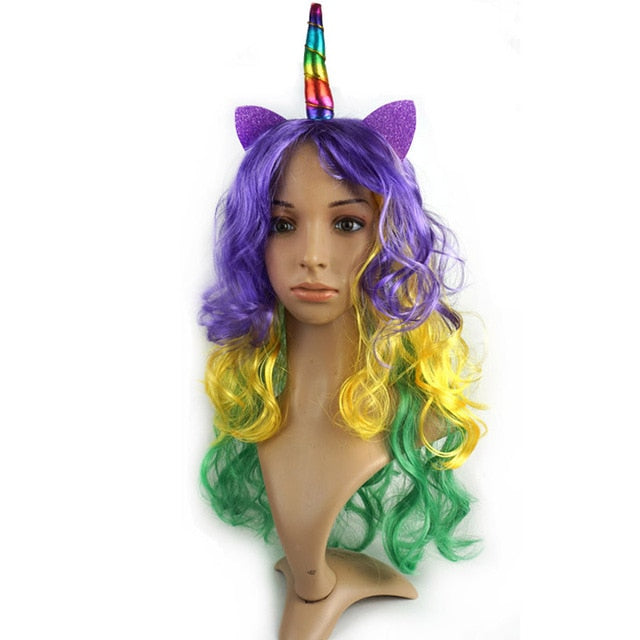 Unicorn Wig Purple Yellow Green Hair - Unicorn in Wonderland