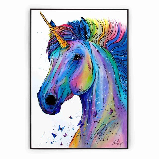 Unicorn Picture Multicolor Head 30x40cm - Unicorn in Wonderland