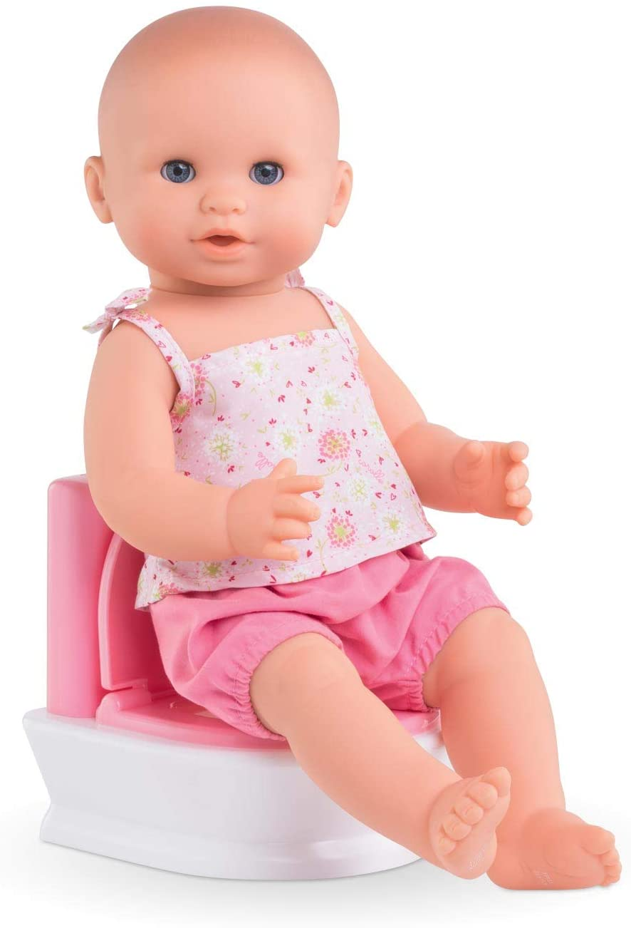 "Corolle - Interactive Toilet - Baby Doll Potty with 2 Sounds For Realistic Pretend Play - Fits 14"" Dolls - Batteries Included"