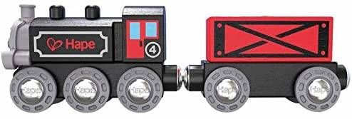 Hape Steam-Era Freight Train | Classic Black & Red Children's Locomotive Toy With Unloadable Freight Wagons