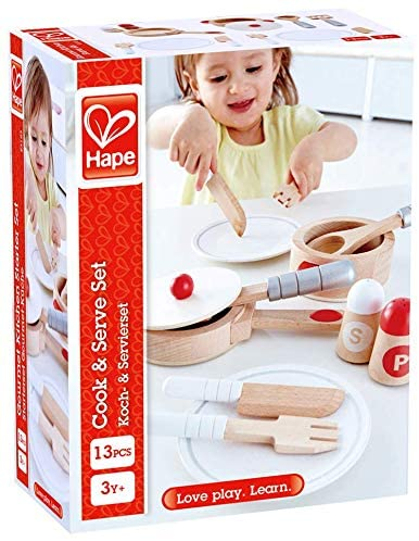 Hape Cook & Serve Set | 13 Piece Wooden Pretend Play Cooking Set with Accessories