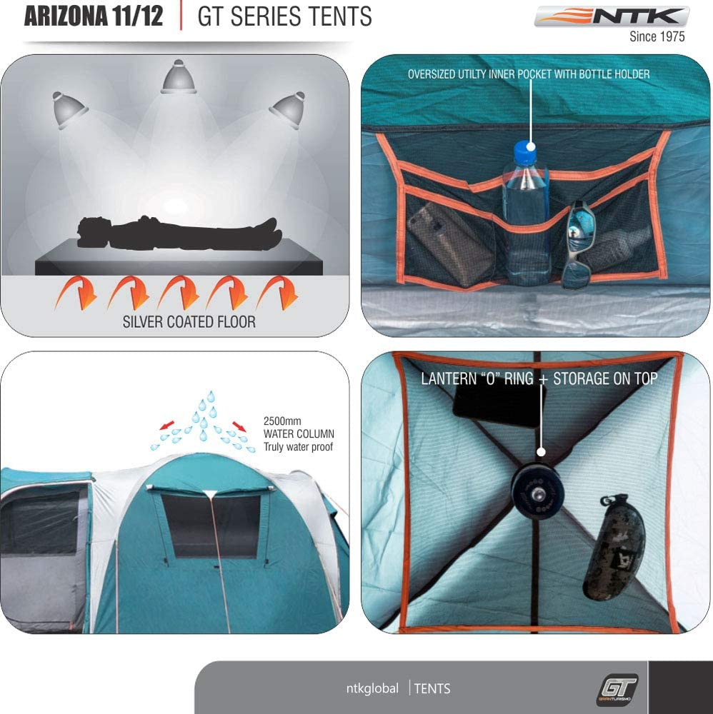 NTK Super Arizona GT up to 12 Person 20.6 by 10.2 by 6.9 Height Foot Sport Family XL Camping Tent 100% Waterproof 2500mm