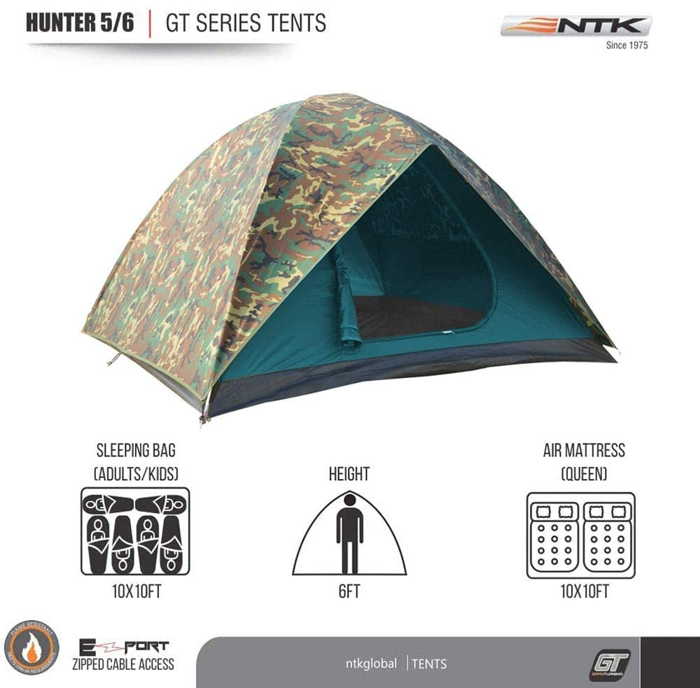 NTK HUNTER GT 5 to 6 Person 9.8 by 9.8 Foot Outdoor Dome Woodland Camo Camping Tent 100% Waterproof 2500mm, Easy Assembly, Durable Fabric Full Coverage Rain fly Micro Mosquito Mesh Maximum Comfort