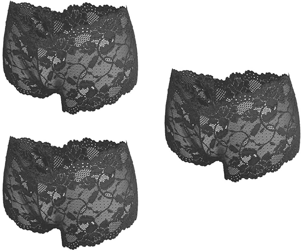 Besame Women Sexy Lingerie Cheeky Lace Hipster Panties Underwear Pack of 3 Black (L)